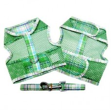 Green and Turquoise Plaid Cool Mesh Dog Harness and Leash