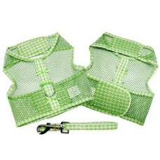 Gingham Dog Harness with Leash