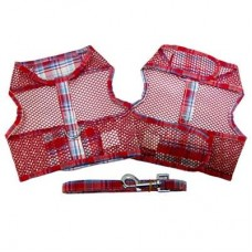 Red and Turquoise Plaid Cool Mesh Dog Harness and Leash
