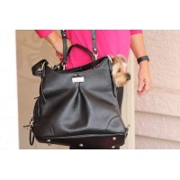 """Sadie"" Michele Mia Black Faux Pebble Leather Carry Bag"