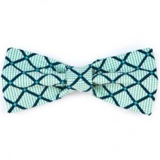 Bow Tie - Aqua/Navy Diamonds