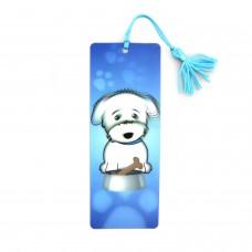3D Dog Blue Bookmark