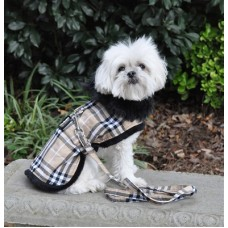 brown plaid dog jacket