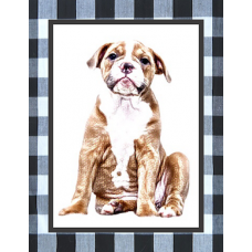 Your dog in earth tones with buffalo print border