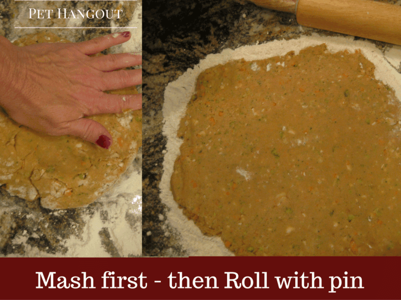 press dough flat and roll with pin