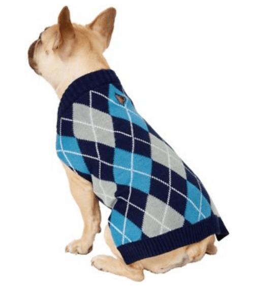 Argyle dog sweater.
