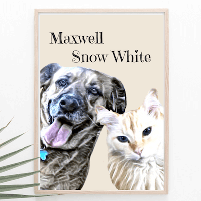Maxwell and Snow White watercolor print