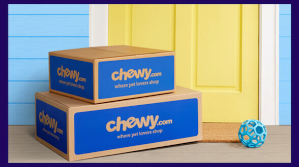 Chewy's auto ship program with boxes at your front door.