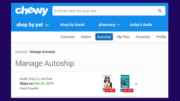 Manage your autoship with Chewy.