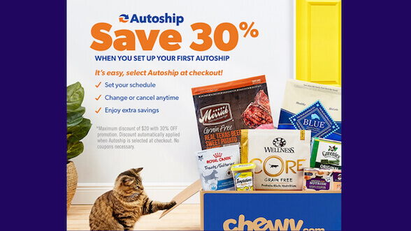 Save 30% off your first Chewy autoship order.