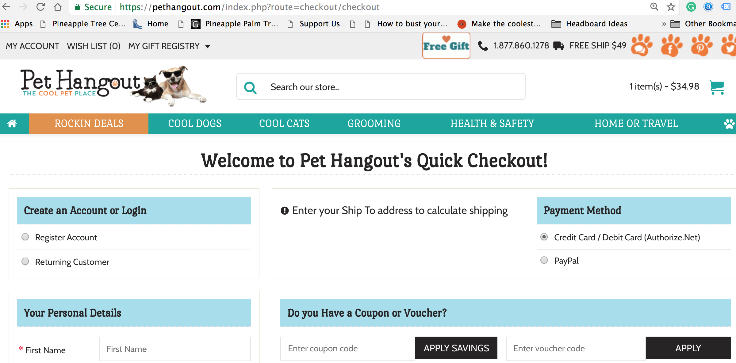 click checkout to see Pet hangout's quick checkout
